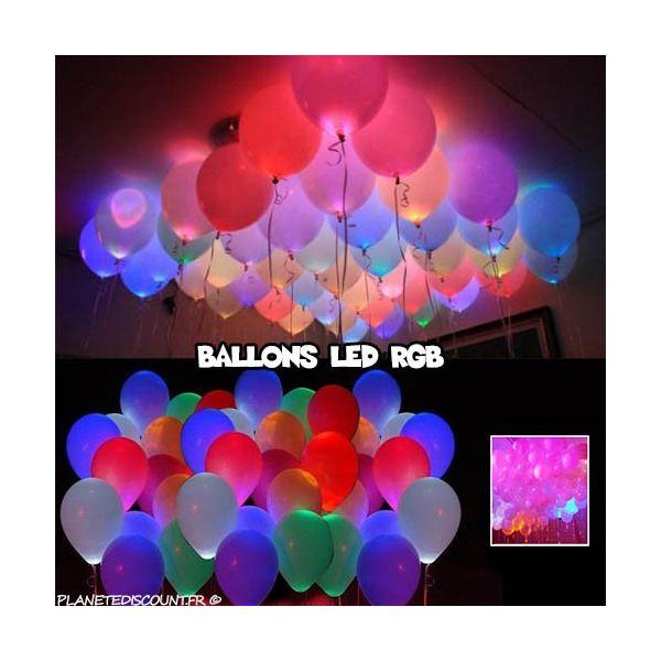 ballons lumineux led multicouleur x10 - Ballon Phosphorescent Mariage