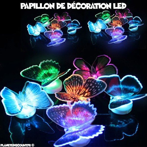 achat papillon de d coration lumineux led prix de gros dropshipping. Black Bedroom Furniture Sets. Home Design Ideas