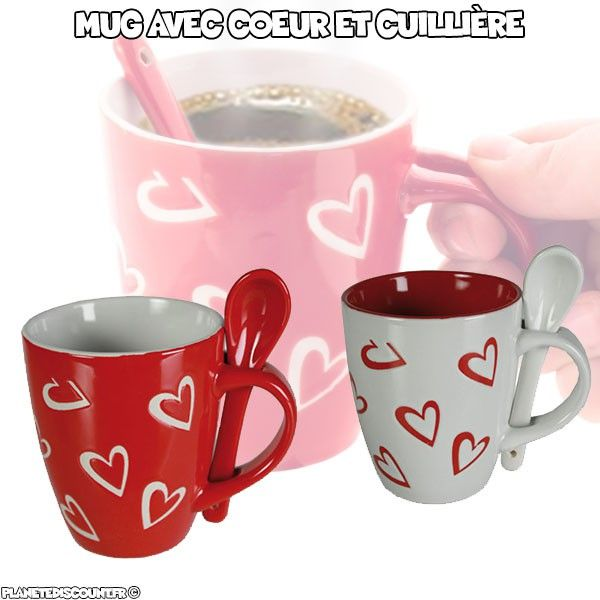 Tasse Mug avec motif coeur et petite cuillère