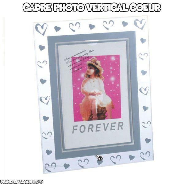 Cadre photo vertical en verre avec coeurs argentés