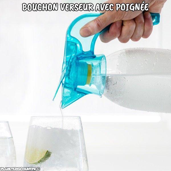 Bouchon poignée bec verseur pour bouteilles