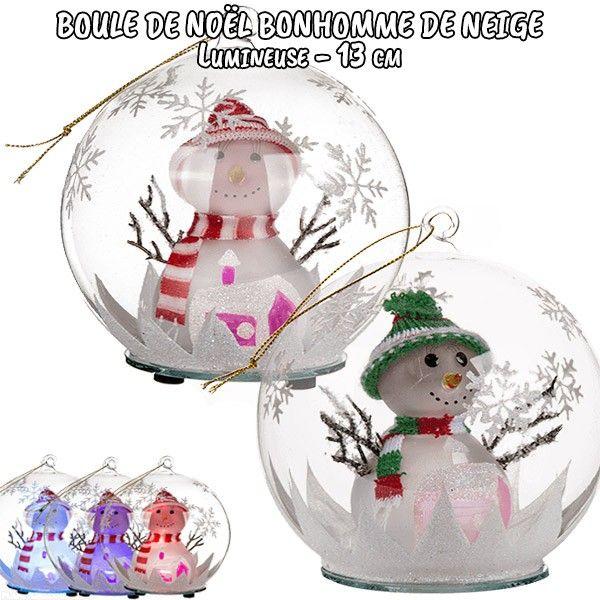 grossiste boule de no l en verre lumineuse bonhomme de neige b2b. Black Bedroom Furniture Sets. Home Design Ideas