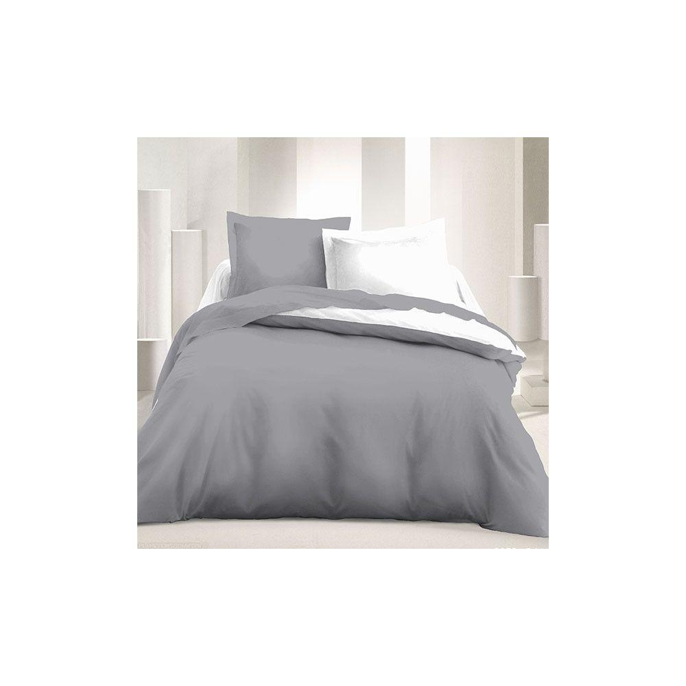 parure de couette r versible microfibre 240 x 220 cm gris clair blanc. Black Bedroom Furniture Sets. Home Design Ideas