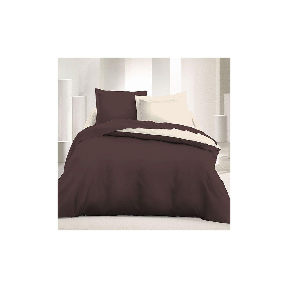 b2b parure de couette r versible microfibre 240 x 220 cm marron beige. Black Bedroom Furniture Sets. Home Design Ideas