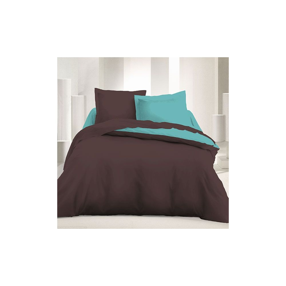 parure de couette r versible microfibre 240 x 220 cm marron turquoise. Black Bedroom Furniture Sets. Home Design Ideas