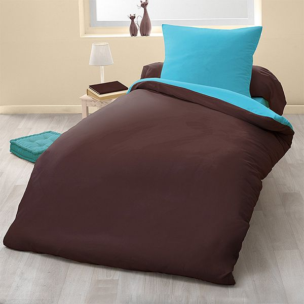 grossiste parure de couette bicolore microfibre 140x200 cm chocolat turquoise b2b. Black Bedroom Furniture Sets. Home Design Ideas