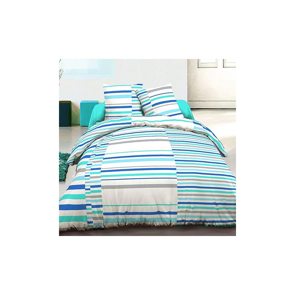 grossiste parure housse de couette 220x240 cm 100 coton vision bleu b2b. Black Bedroom Furniture Sets. Home Design Ideas