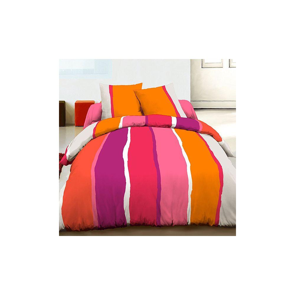 grossiste parure housse de couette 100 coton 240x260 cm lilly orange b2b. Black Bedroom Furniture Sets. Home Design Ideas