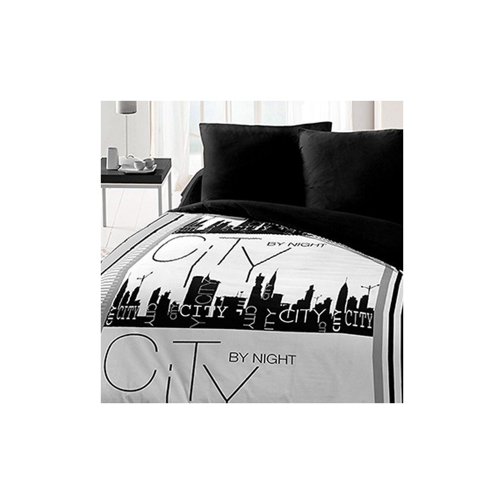 grossiste parure de drap microfibre 240x300 cm 4pcs city by night b2b. Black Bedroom Furniture Sets. Home Design Ideas