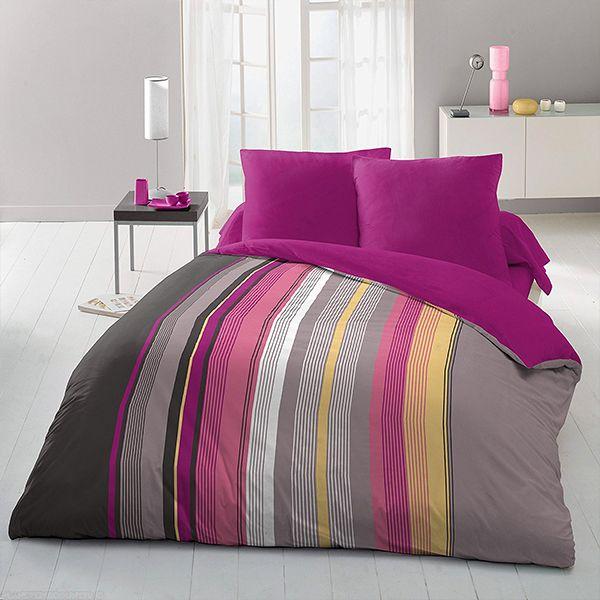 grossiste parure de drap microfibre 220x290 cm rayures bayad re b2b. Black Bedroom Furniture Sets. Home Design Ideas
