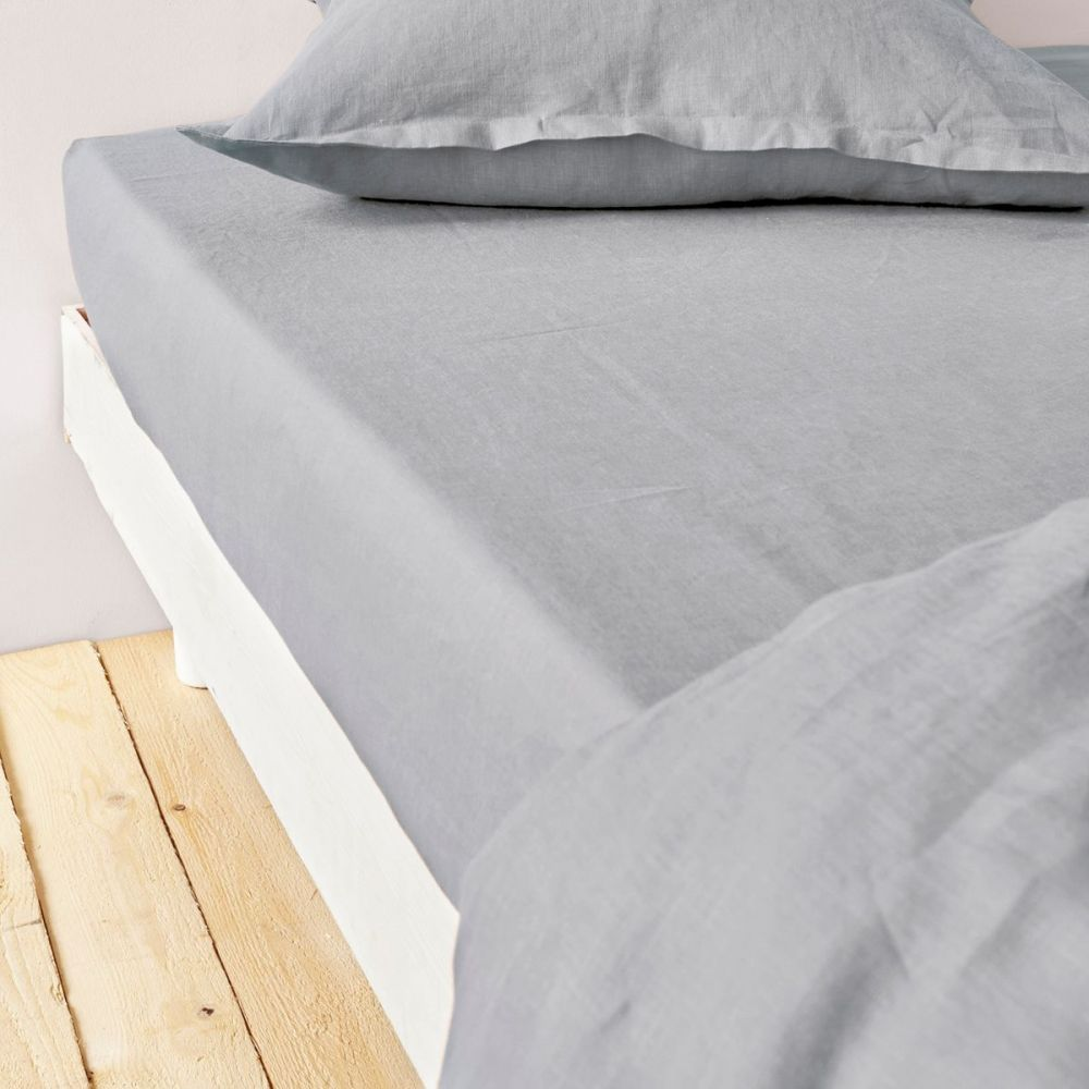 grossiste drap housse 140x190 cm lin m tis gris clair b2b. Black Bedroom Furniture Sets. Home Design Ideas