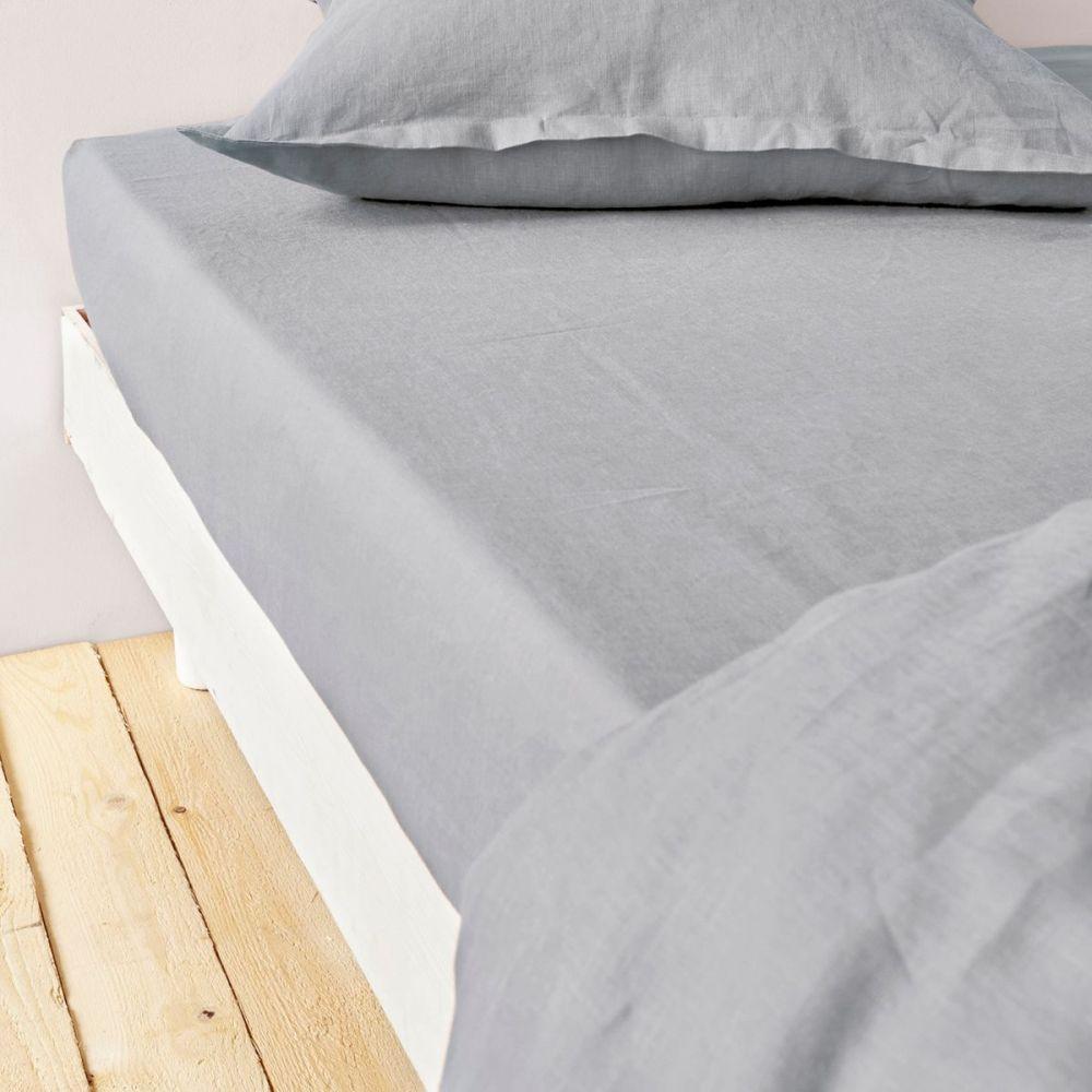 grossiste drap housse 160x200 cm lin m tis gris clair b2b. Black Bedroom Furniture Sets. Home Design Ideas