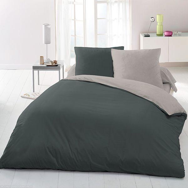 grossiste parure de lit microfibre 220x240 gris clair gris fonc b2b. Black Bedroom Furniture Sets. Home Design Ideas
