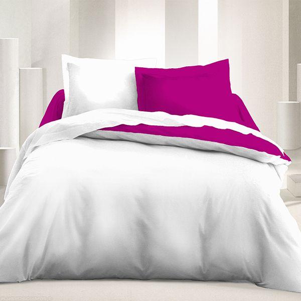 grossiste parure de lit 3 pcs 240x220 microfibre blanc groseille b2b. Black Bedroom Furniture Sets. Home Design Ideas