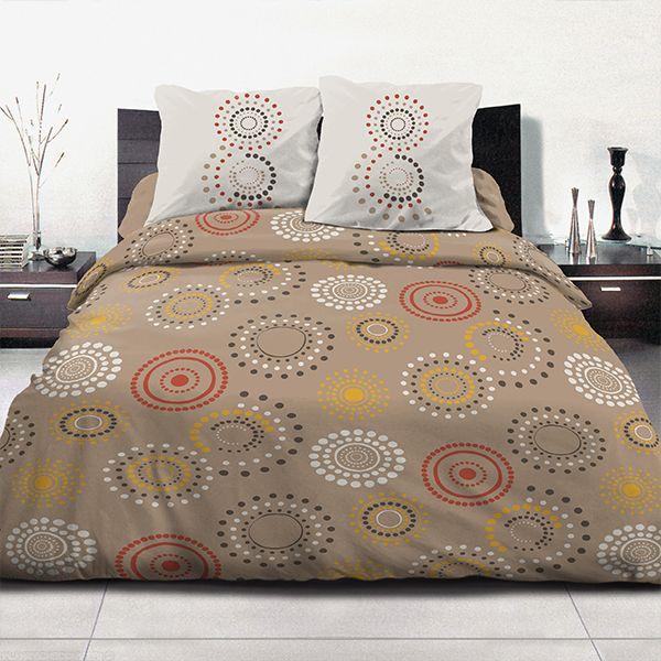 grossiste parure de couette coton 240x260 cm feu d 39 artifice taupe b2b. Black Bedroom Furniture Sets. Home Design Ideas