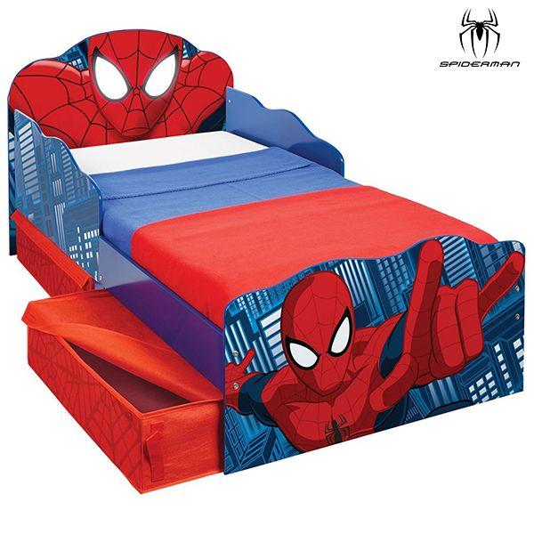 Lit enfant Spiderman lumineux avec rangements