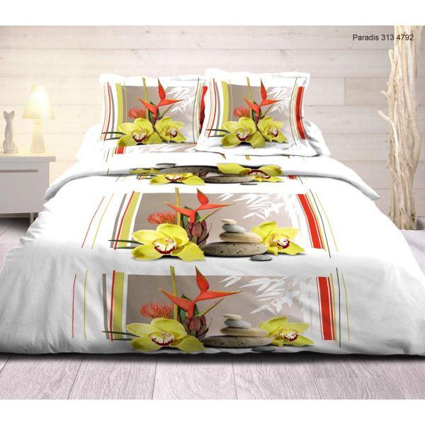grossiste parure de couette coton paradis 220x240 cm b2b. Black Bedroom Furniture Sets. Home Design Ideas