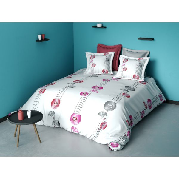 grossiste parure de couette coton fleur rose 220x240 cm b2b. Black Bedroom Furniture Sets. Home Design Ideas