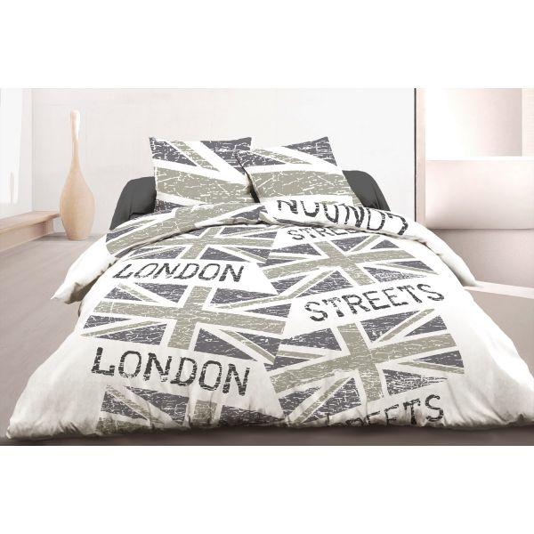 grossiste parure de couette coton london steets gray 240x260 cm b2b. Black Bedroom Furniture Sets. Home Design Ideas