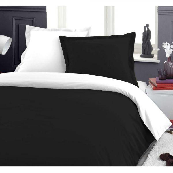 Housse de couette Coton Blanc/Noir et taie d'oreiller