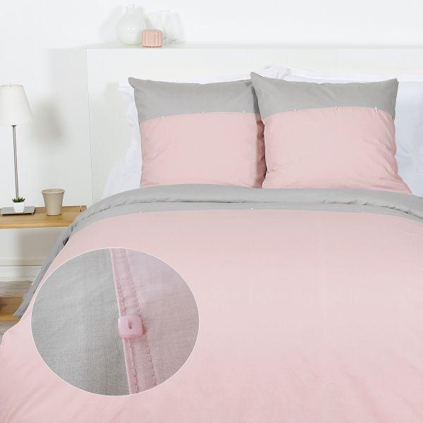 fournisseur de parure de couette 100 coton 57 fils nacre rose gris b2b. Black Bedroom Furniture Sets. Home Design Ideas