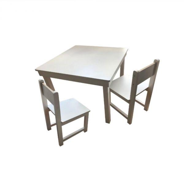 Ensemble table et deux chaises en bois Made in France