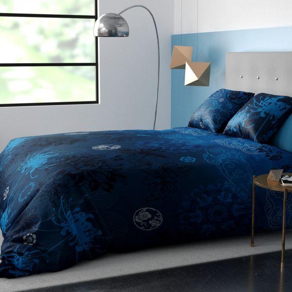 Housse de couette et taie d'oreiller coton Japonisant Bleu