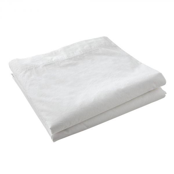 Drap plat 100% Percale de Coton Lavé 80 fils