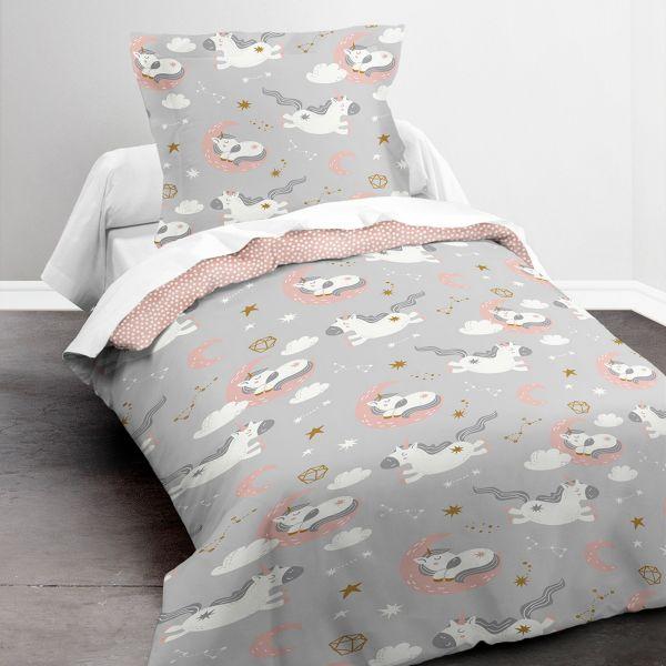 Housse de couette enfant 140x200 cm avec 1 taie d'oreiller 63x63 cm Parure de lit Polyester First 1.12
