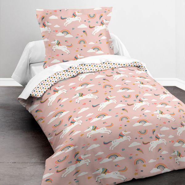 Housse de couette enfant 140x200 cm avec 1 taie d'oreiller 63x63 cm Parure de lit Polyester First 1.14