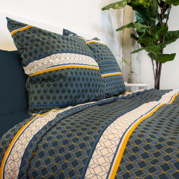 Housse de couette 220x240 cm avec 2 taies d'oreiller 65x65 cm Parure de lit Coton Art Deco