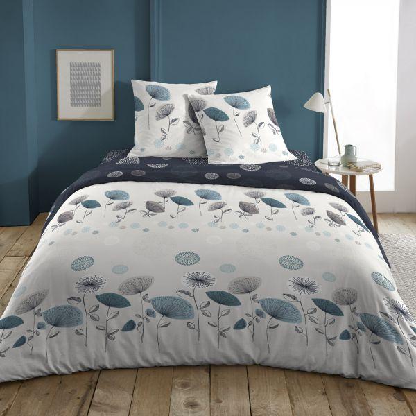 Parure de lit housse de couette avec taies d'oreiller 100% Coton 57 fils Danubia Bright White